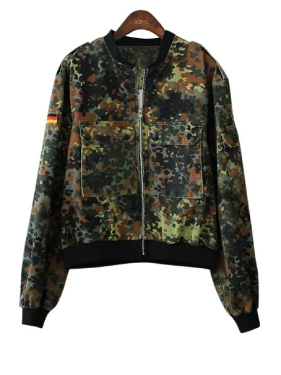 outfit Camouflage Pockets Coat - CAMOUFLAGE COLOR S