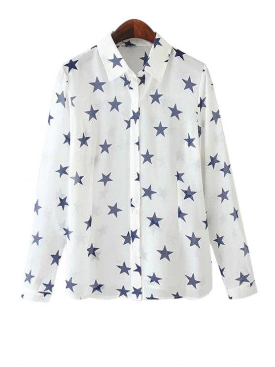 affordable Full Star Print Long Sleeve Shirt - WHITE S