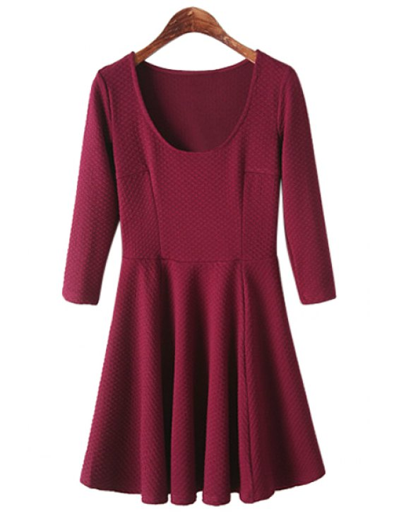 hot Jacquard 3/4 Sleeve Dress - WINE RED S