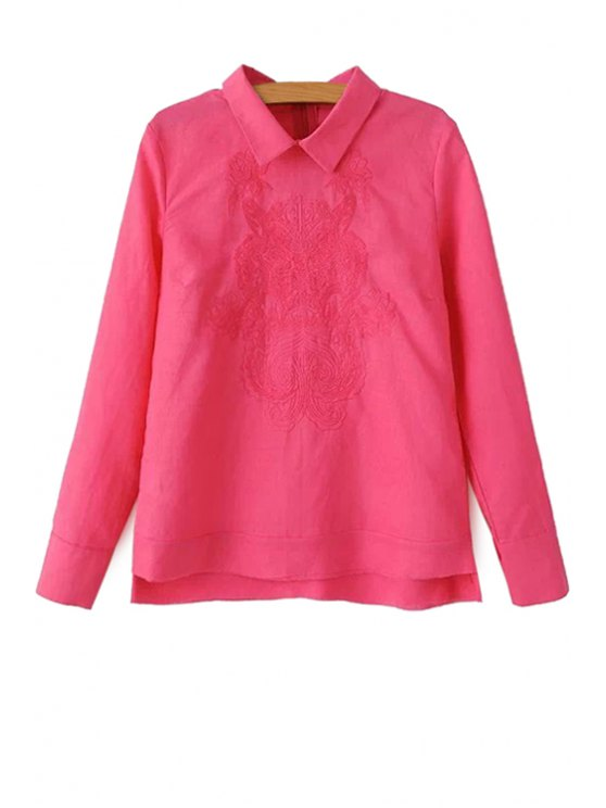lady Tiger Embroidery Long Sleeves Shirt - PINK S