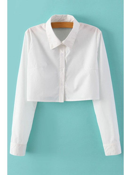women White Long Sleeve Crop Top - WHITE S