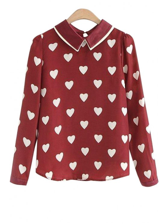 outfit Long Sleeves Heart Print Shirt - DEEP RED M