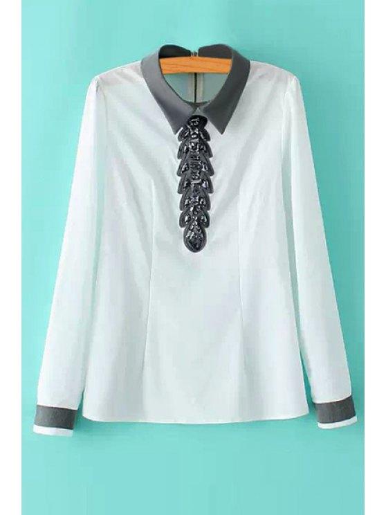 lady Rhinestone Embellished Long Sleeve Shirt - WHITE S