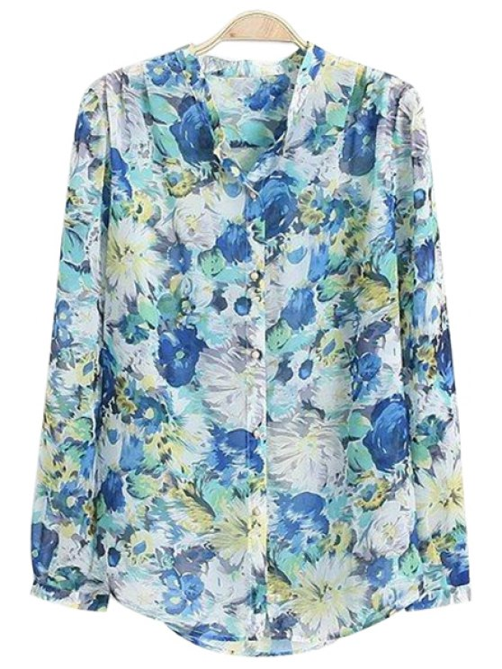 fashion Floral Stand Neck Blouse - BLUE S
