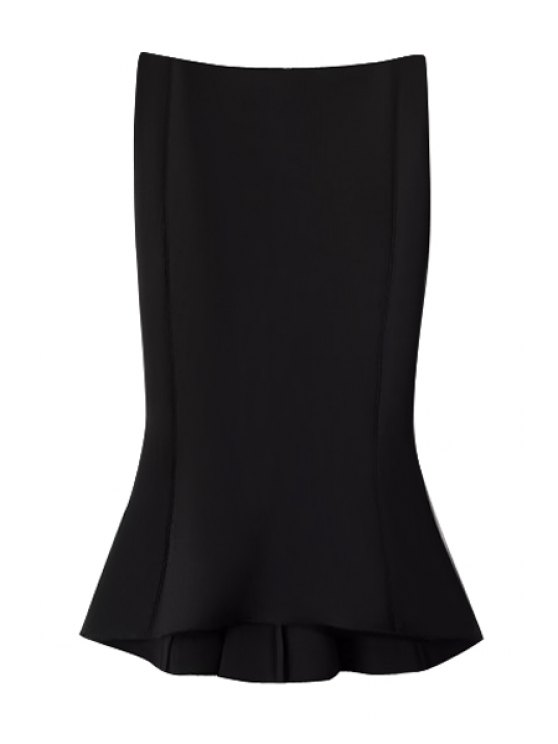 ladies Solid Color Zipper Fly Fishtail Skirt - BLACK S
