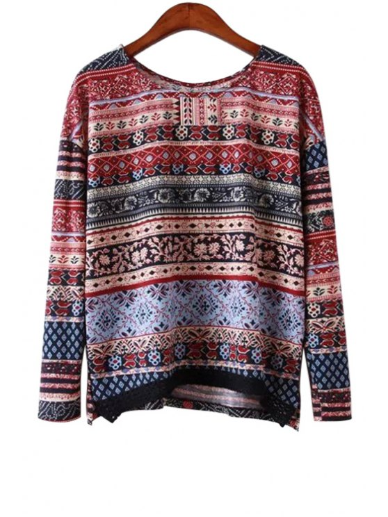 best Long Sleeves Ethnic Print Blouse - DEEP RED S