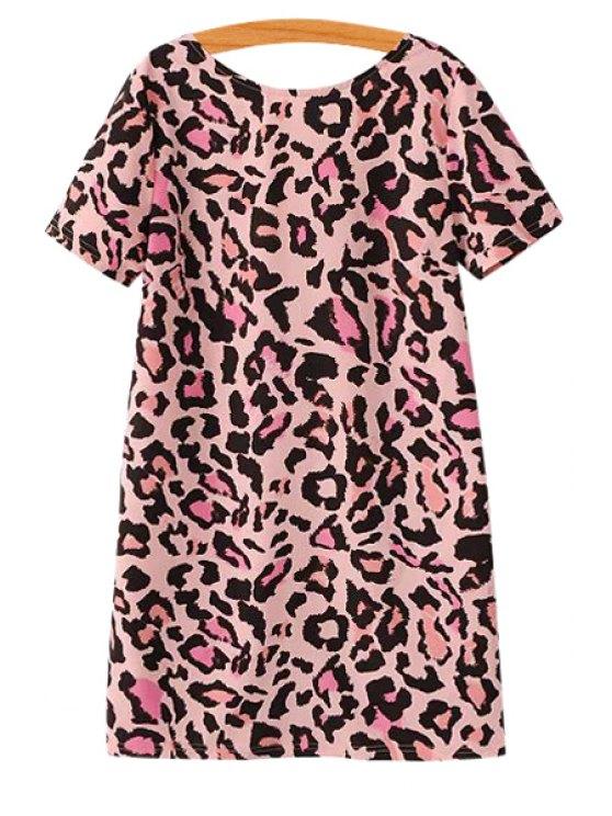 womens Pink Leopard Pattern Dress - PINK S