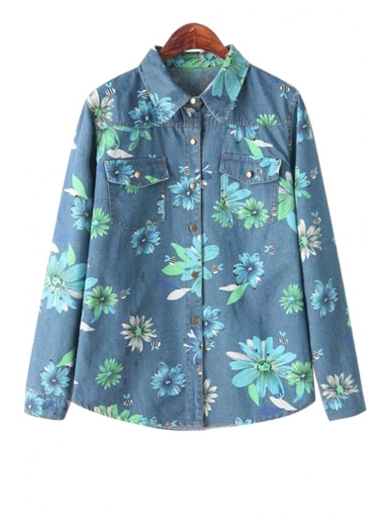 fancy Floral Long Sleeve Denim Shirt - GREEN ONE SIZE(FIT SIZE XS TO M)