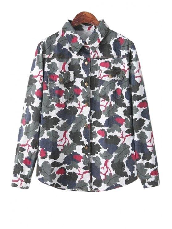 buy Leaf Print Denim Shirt - BLUE ONE SIZE(FIT SIZE XS TO M)