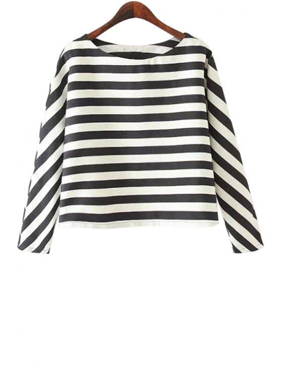 ladies Long Sleeves Striped Blouse - STRIPE S
