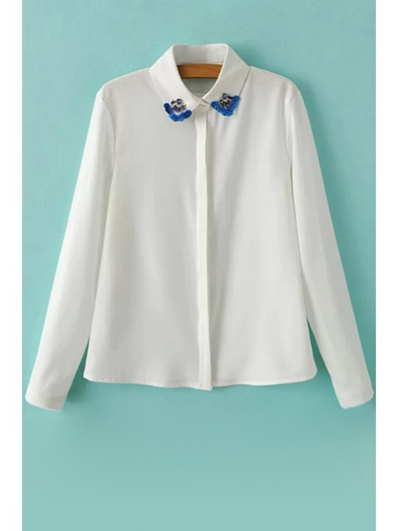 hot Diamante Long Sleeve Chiffon Shirt - WHITE S