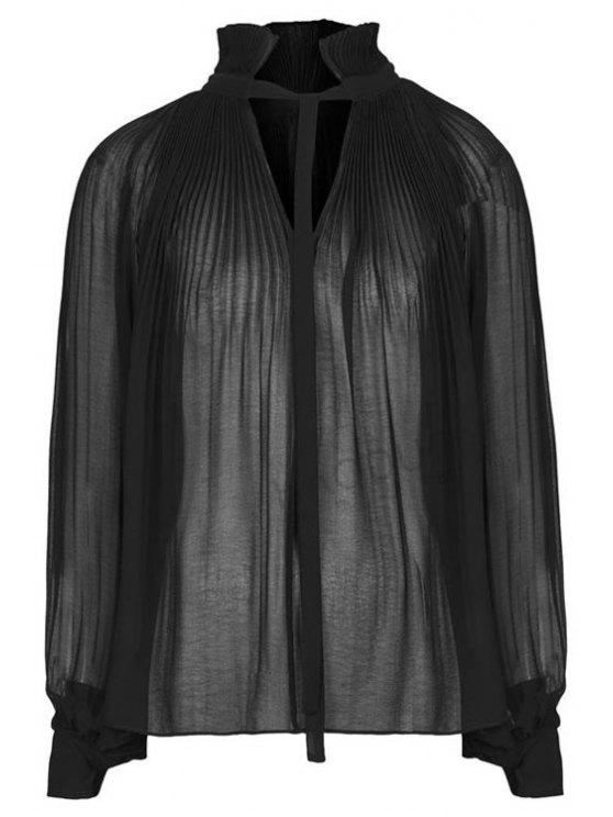 outfits Ruffle Chiffon Long Sleeve Shirt - BLACK XS