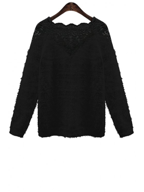 womens Lace Splicing Mohair Sweater - BLACK ONE SIZE(FIT SIZE XS TO M)