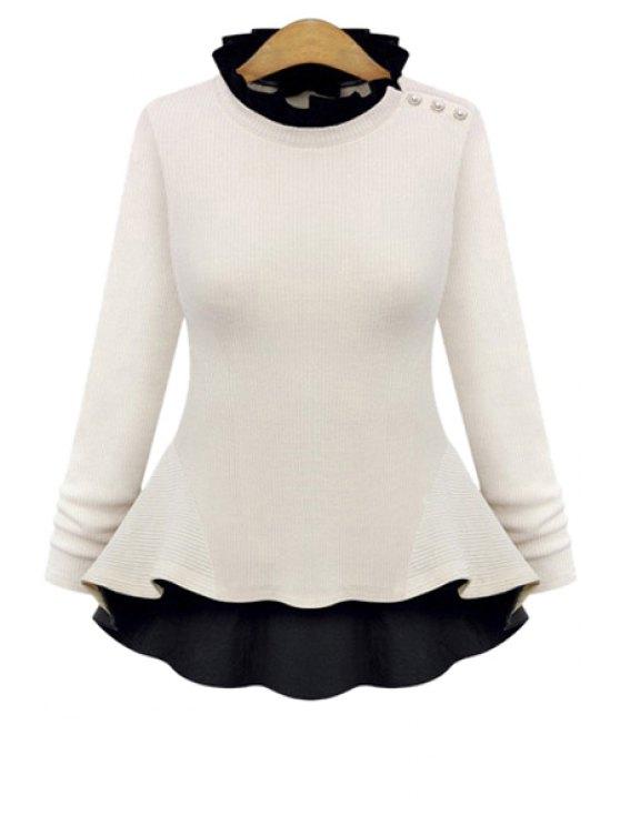 trendy Flouncing Long Sleeve Knitwear - WHITE L