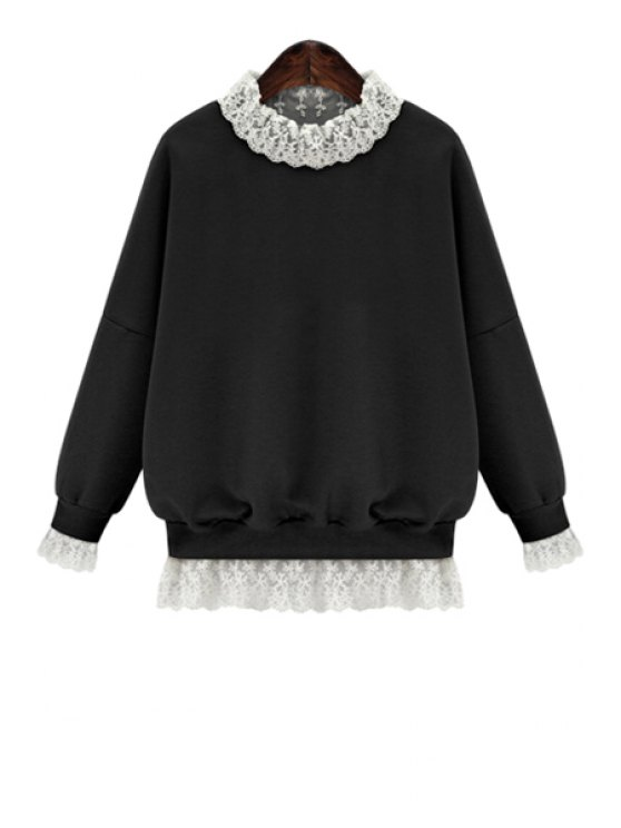 chic Lace Splicing Long Sleeves Sweatshirt - BLACK XL