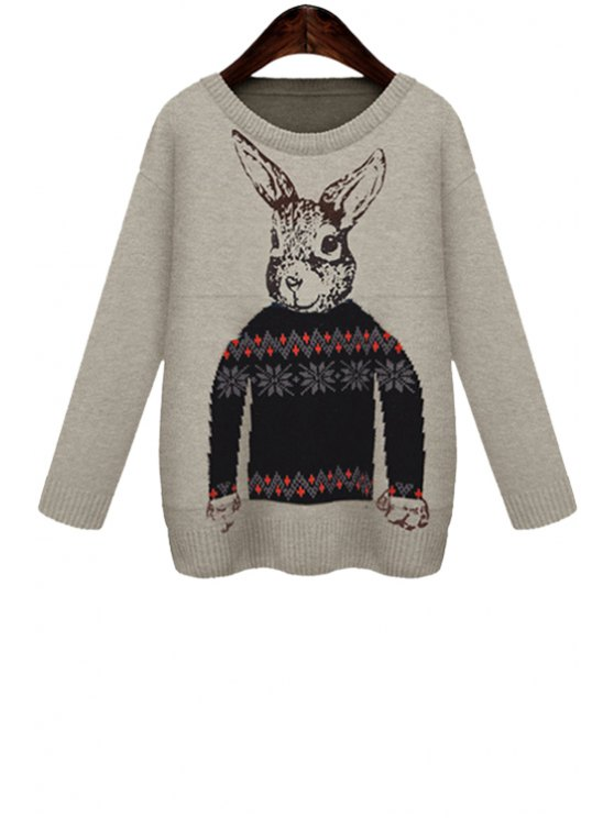 unique Rabbit Pattern Long Sleeves Sweater - GRAY ONE SIZE(FIT SIZE XS TO M)