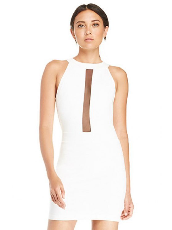 online Voile Splicing Backless Sleeveless Dress - WHITE XS