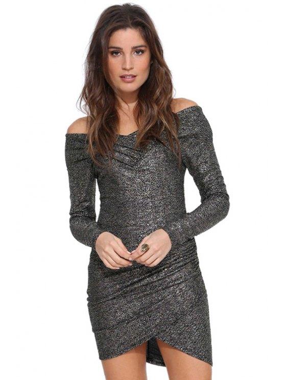 lady Ruffle Asymmetrical Long Sleeve Dress - GRAY XS