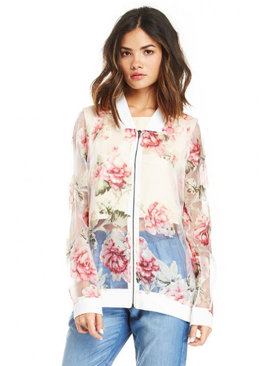 womens Floral Print See-Through Jacket - TRANSPARENT XS