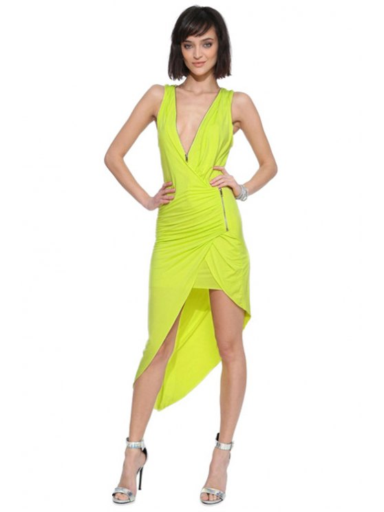 trendy Plunging Neck Zippers Ruffle Dress - YELLOW XS
