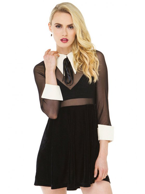 best Voile Splicing See-Through Dress - BLACK XS
