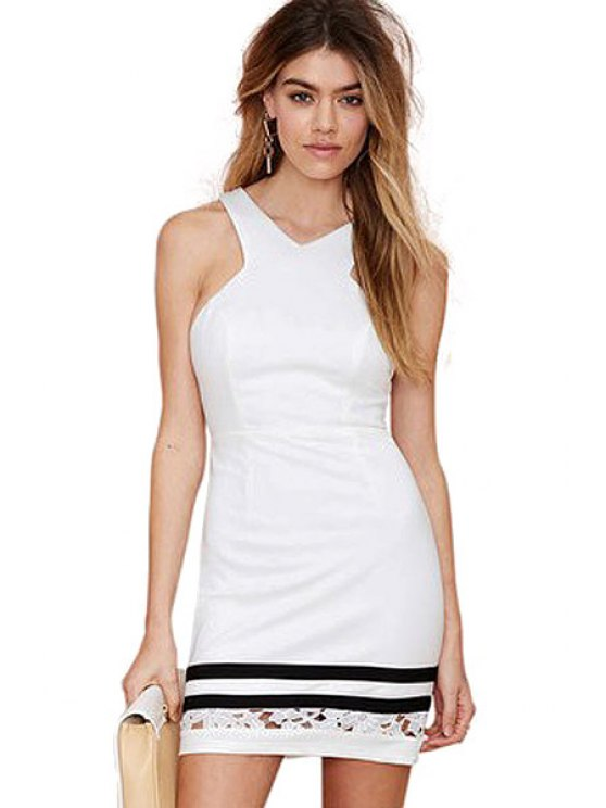 fancy Backless Openwork Sleeveless Dress - WHITE XS