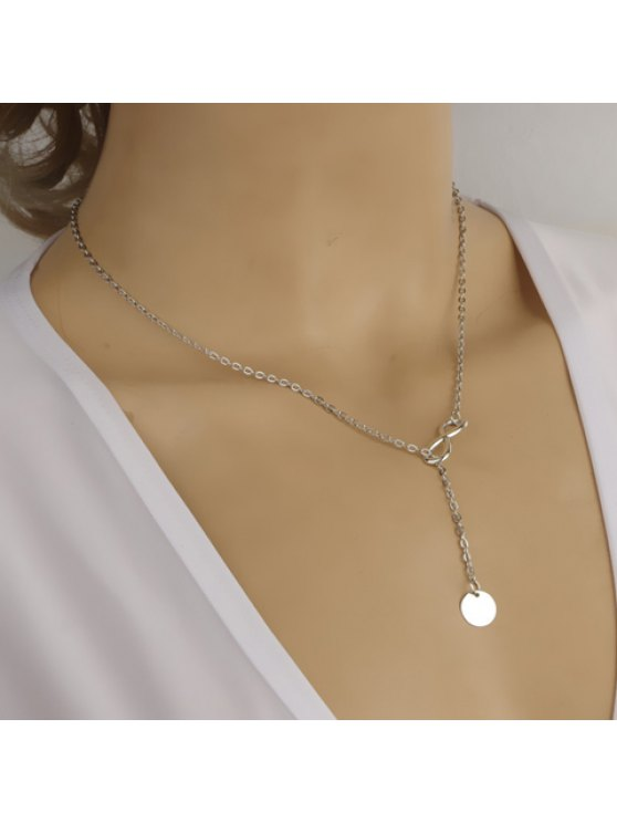 hot Stylish Chic Women's Round Pendant Necklace - SILVER