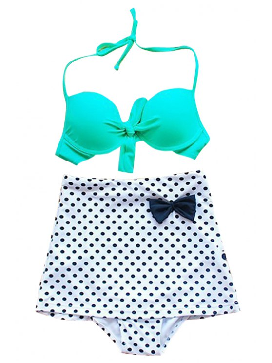 fancy Polka Dot Bowknot Bikini Set - GREEN S