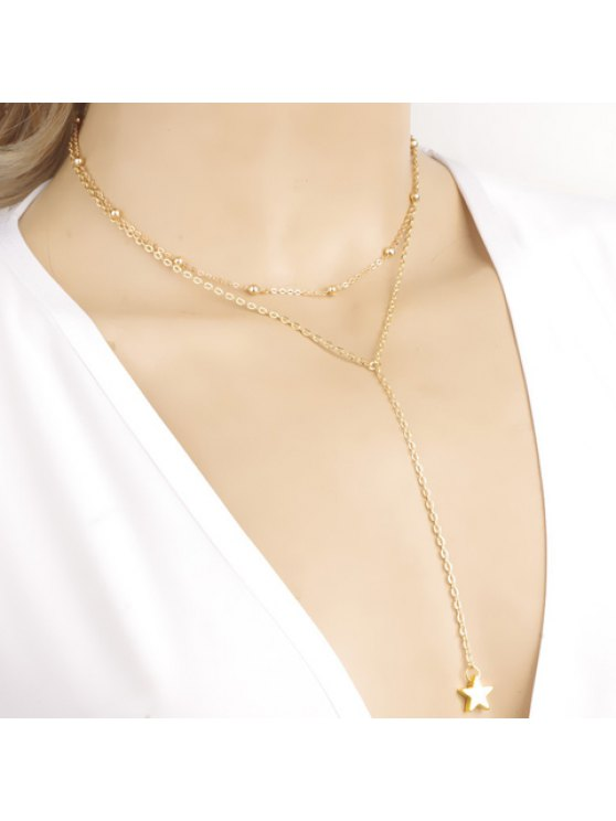 lady Cute Women's Star Pendant Layered Necklace - AS THE PICTURE