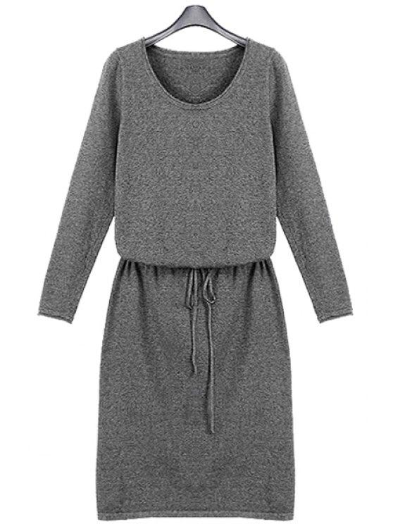 fancy Solid Color Long Sleeve Knit Dress - LIGHT GRAY S