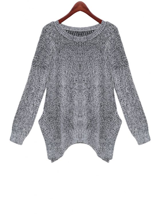 new Gray Long Sleeve Mohair Sweater - GRAY ONE SIZE(FIT SIZE XS TO M)