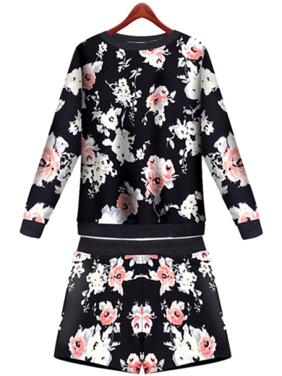 sale Floral Pattern Sweatshirt and Shorts Suit - BLACK S