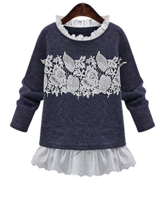 outfit Crochet Flower Splicing Sweatshirt - BLUE L