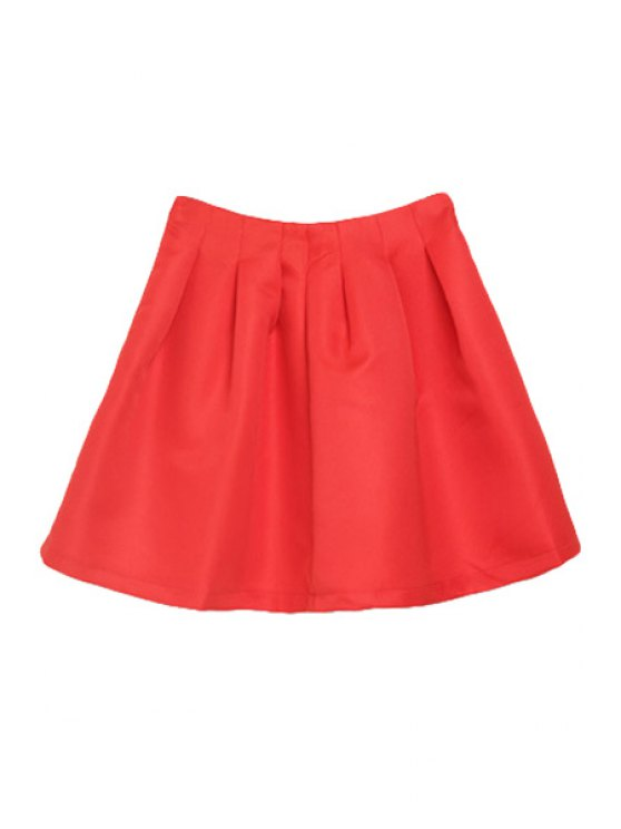affordable Solid Color A-Line High-Waisted Skirt - RED M
