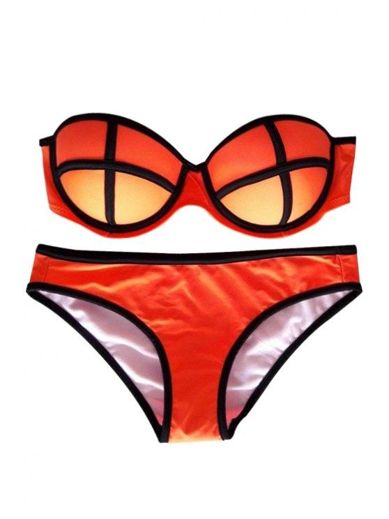ladies Color Block Push-Up Bikini Set - ORANGE S
