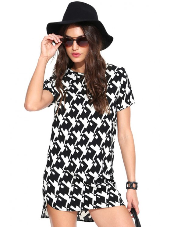 fashion Print Short Sleeves Dress - WHITE AND BLACK S
