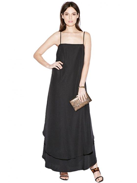 shop Spaghetti Straps Black Dress - BLACK S