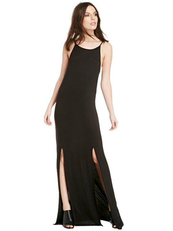 best Black Spaghetti Straps Maxi Dress - BLACK S