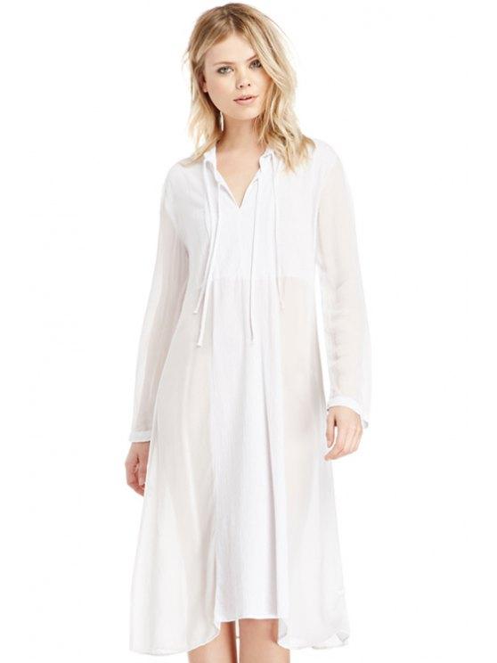 affordable White Long Sleeve Dress - WHITE S