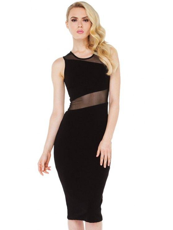 women Sleeveless Voile Splicing Dress - BLACK S