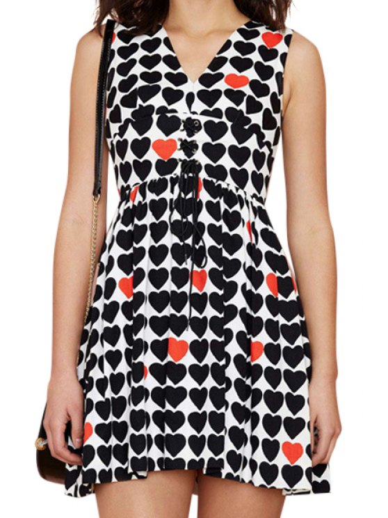 new Full Heart Print Sleeveless Dress - BLACK AND WHITE AND RED S