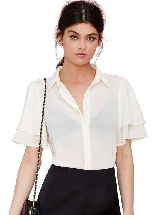 trendy White Short Sleeve Chiffon Shirt - WHITE S