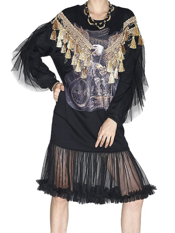 new Eagle Pattern Voile Splicing Dress - BLACK ONE SIZE(FIT SIZE XS TO M)