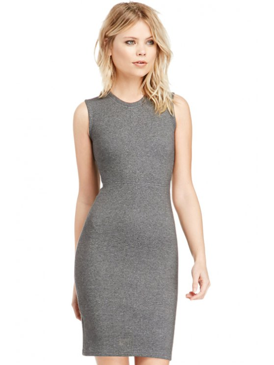 outfits Solid Color Sleeveless Wrapped Dress - GRAY M