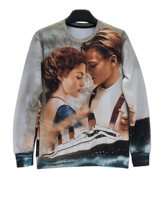 unique Figure and Ship Print Sweatshirt - COLORMIX ONE SIZE(FIT SIZE XS TO M)