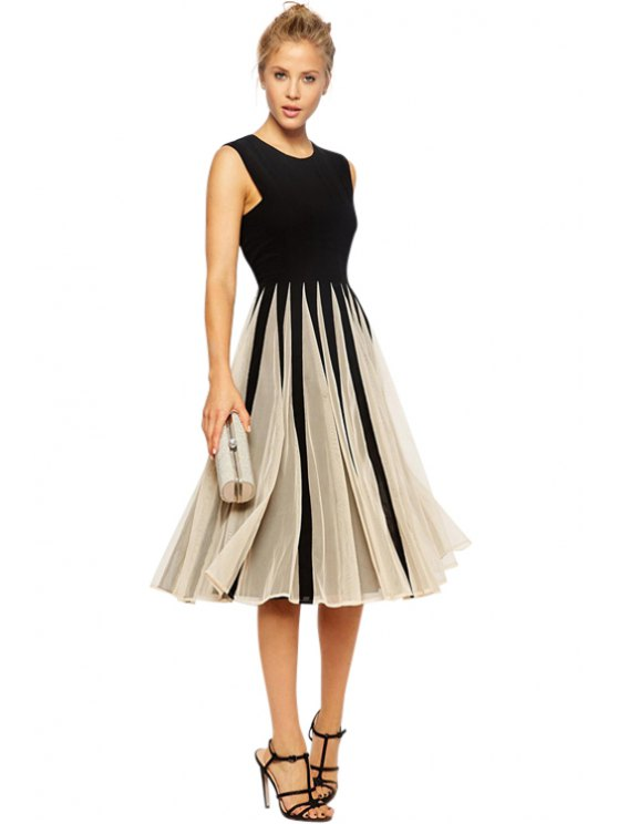ladies Color Block Voile Splicing Dress - WHITE AND BLACK XS