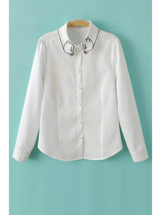 unique Cat Embroidery Long Sleeve Shirt - WHITE S