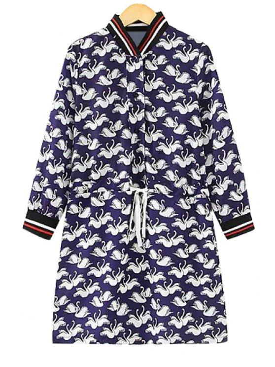 outfits Swans Print Long Sleeve Dress - BLUE L