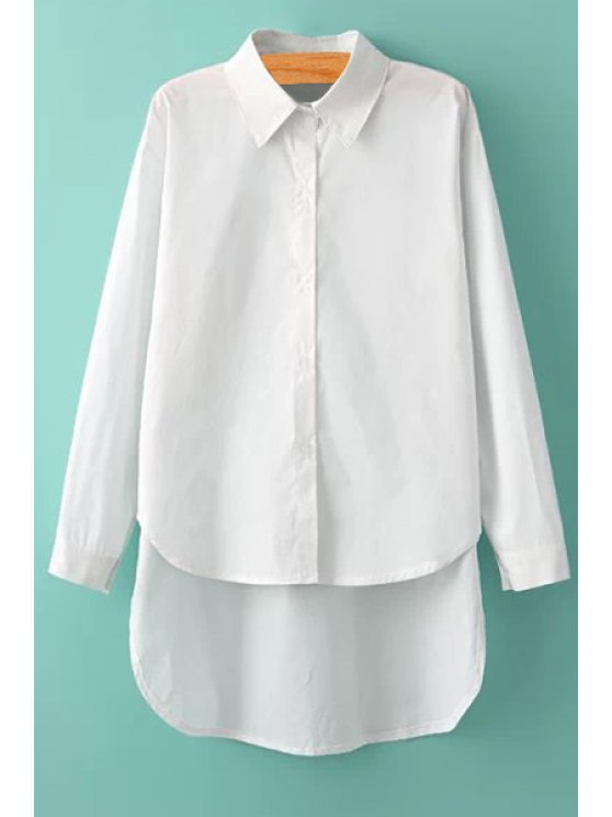 buy Solid Color Asymmetrical Shirt - WHITE S