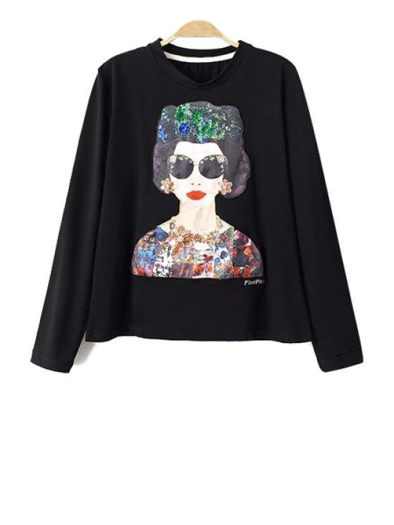 online Figure Print Sequins Long Sleeve T-Shirt - BLACK S